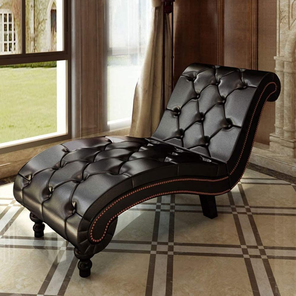 Selling rankings Brown Leather Upholstered Chaise Room Lounge Chai Max 51% OFF Living