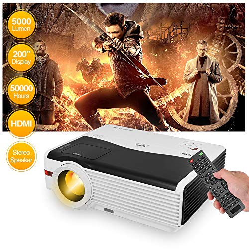 LED Video Projector 1080P Supported, 5000 Lux Home Theater Projector with Built-in Hi-Fi Speaker, Compatible with Smartphone, TV Stick, Laptop, PS4,HDMI/VGA/USB, HD Projector for Outdoor Entertainment
