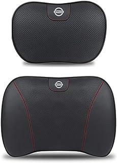 Reposacabezas Cojín Lumbar Cuero para Automóvil Almohada para El Cuello Cojín Trasero Asiento De Oficina Respaldo para Automóvil Almohada Negro