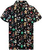Funky Hawaiihemd Weihnachten, Christmas Gingerbread, schwarz, S