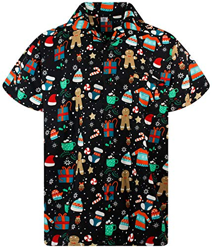 Funky Hawaiian Shirt, Shortsleeve, X-Mas, Christmas Gingerbread, Black, XL