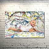 Wfmhra Lindo bebé niños Cartel de Arte impresión decoración de la habitación Pintura Sala de Estar Familiar decoración del Dormitorio Mural 50x75 cm sin Marco