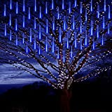 Purtuemy Meteor Shower Lights Christmas Lights, Falling Rain Lights 12 inch 8 Tubes LED Icicle Cascading String Lights for Christmas Halloween Holiday Decoration Garden Outdoor Trees Wedding , Blue