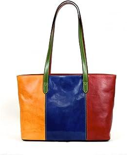 Shopper Donna In Vera Pelle Con Scomparto Interno Colore Multicolor - Pelletteria Toscana Made In Italy - Linea Prestige