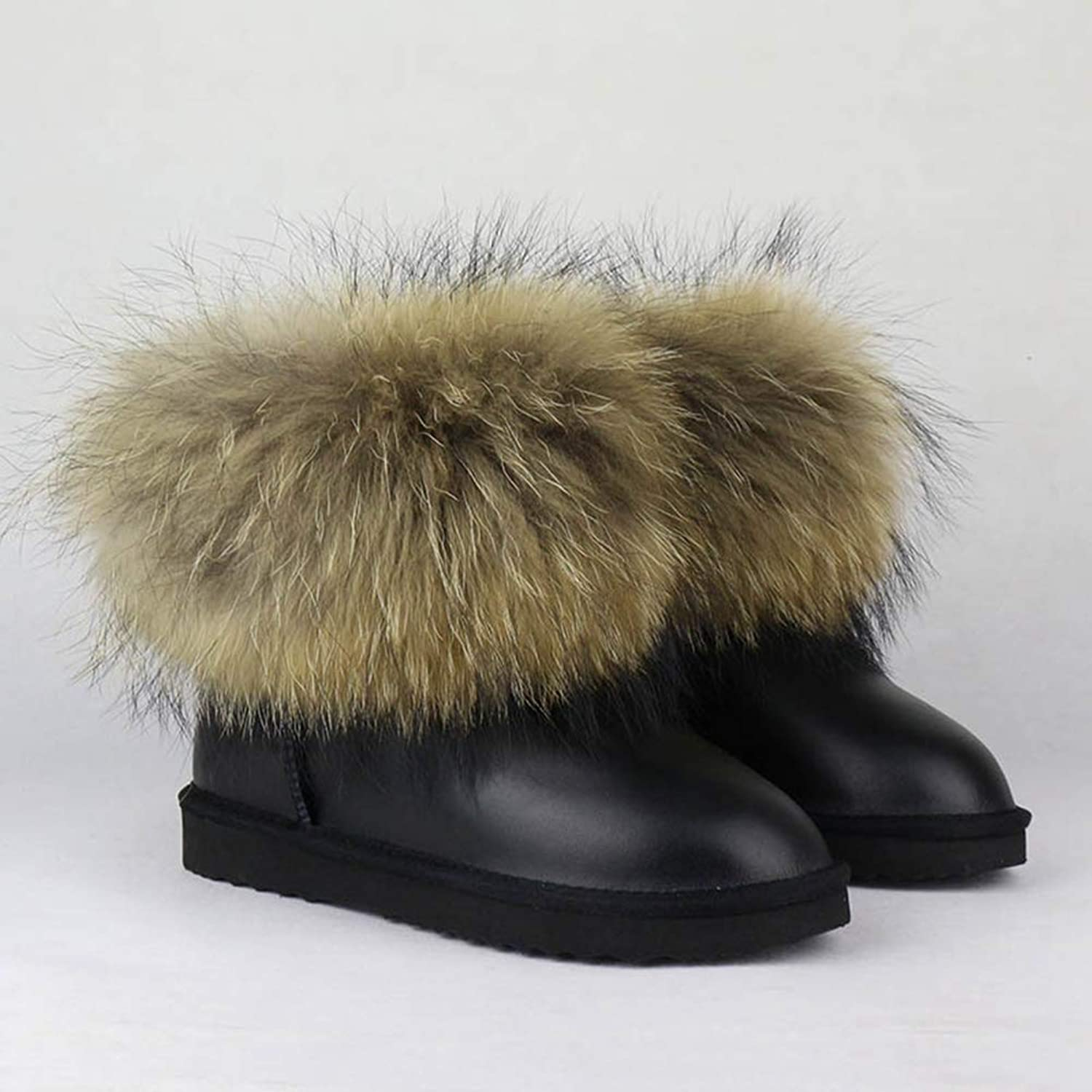 T-JULY Women's Snow Boots Top Fashion Natural Big Fox Fur Gneuine Leather Warm Winter Slip-On Ankle Raccoon Boots