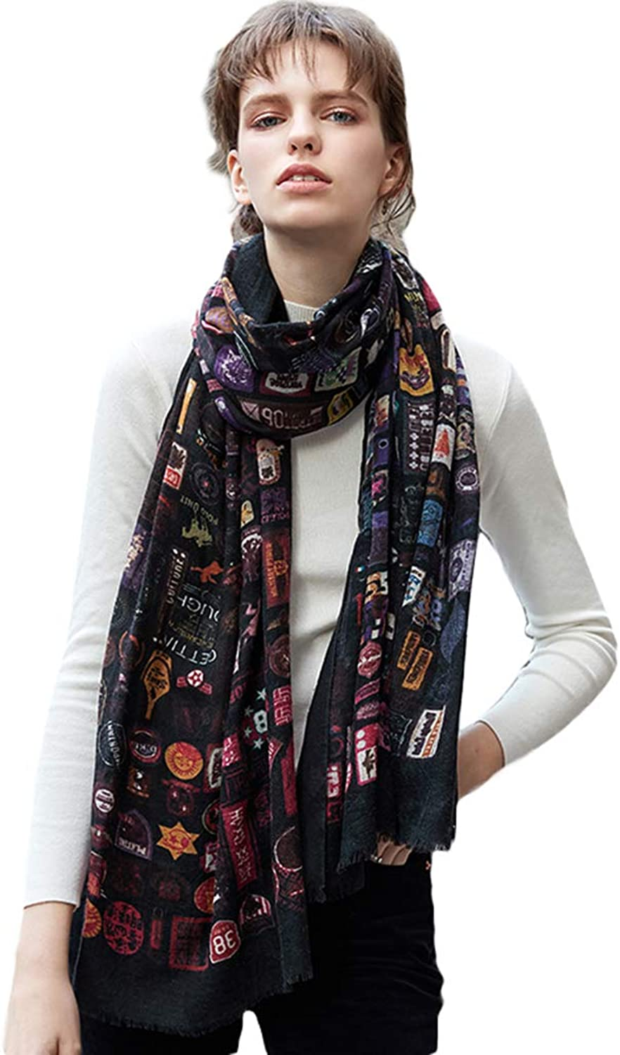 Cold Weather Scarves Women's Scarf Fashion Print Scarf Autumn Winter Thin Scarf Ladies Wrap Shawl Soft Wild Scarf Student Long Cashmere Shawl Wraps (color   Black, Size   200  70cm)