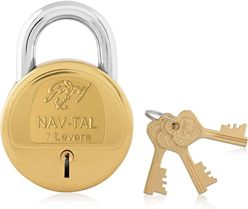 Godrej Locking Solutions and Systems Nav-Tal Brass Padlock (Hardened, with 4 Keys)