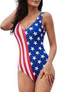 Women Girls Sexy American Flag Print Bathing Suits One Piece Swimwear Swimsuits Bikini
