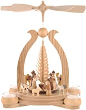 Müller German Christmas Pyramid Arch Christmas Story, 1-Tier, Height 34 cm / 13 inch, Natural with tealights, Original Erz...