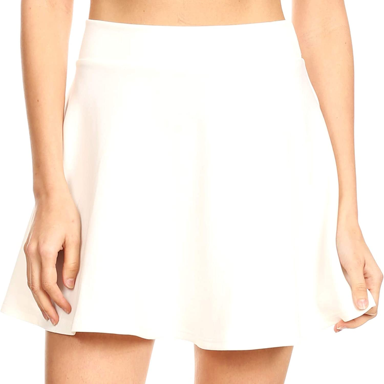 Sakkas Womens Basic Versatile Stretchy Flared Casual Mini Skater Skirt Made in USA