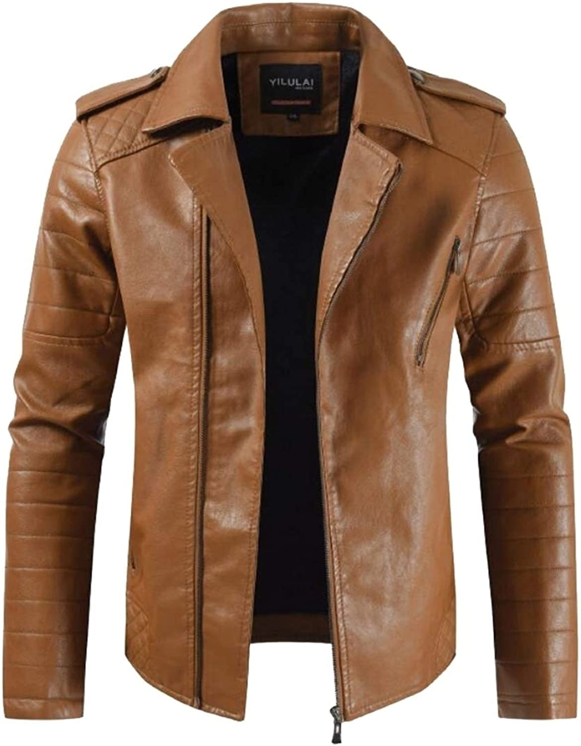 d13783bd66b2 Generic MensLeather Jacket Smooth Zip up up up Fitted Faux Leather ...
