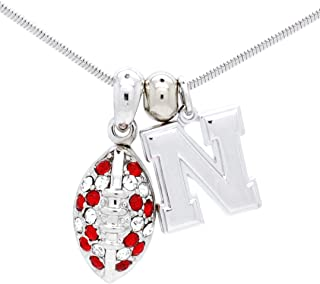Violet Victoria & Fan Star College Football Necklace - Crystal - Small