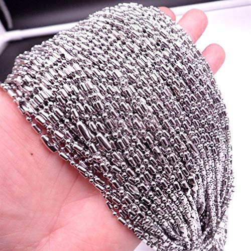 chenyou Colgante 10/20/50/100pcs/lote DIY redondo bolas bolas cadena plata collar collar unisex 1.5/2/2.4/3.2mm colgante collar