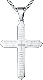 Stainless Steel Our Father Lord's Prayer Cross Pendant Necklace, Unisex, 23