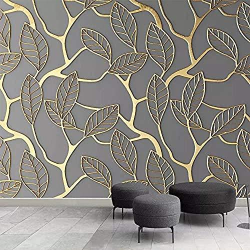 Stereoscopische reliëf serie Golden Tree Leaves wanddecoratie kunstdruk poster foto HD-druk voor woonkamer wandpapier fotobehang 3d effect behang behang woonkamer slaapkamer 300 x 210 cm.