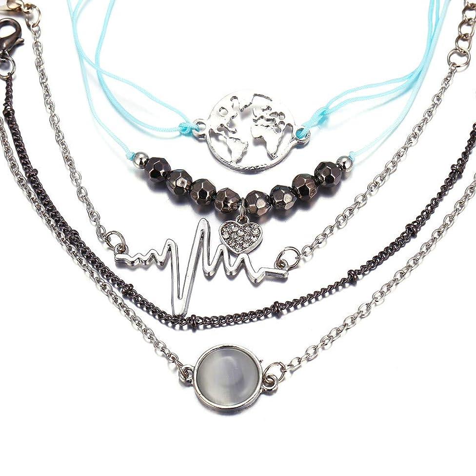 5 Pcs Black Beads Heart Shaped Crystal Bracelet Hot Selling By Ikevan