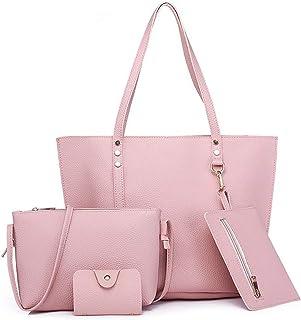Fanspack 4PCS Tote Bag Set Large Capacity Satchel Bag Purse Shoulder Bag Purse Key Bag