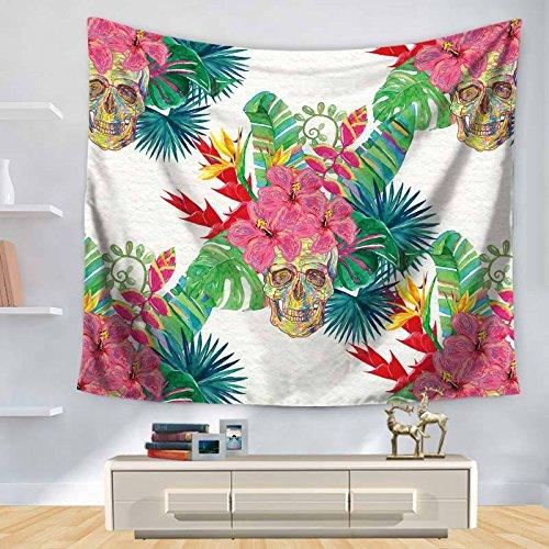 KHKJ Tapiz de Hojas Verdes Tapiz Colgante de Pared Planta Tropical Impreso tapices Hippie psicodélicos decoración del hogar Manta de mantón A7 95x73cm