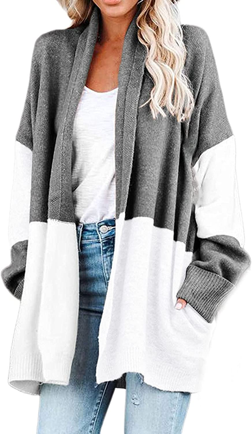 Two-Color Stitching Long Sleeve Lapel Collar Cardigans For Women Casual Fall Open Front Sweater Tops Coat