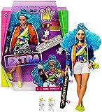 Barbie Extra poupée articulée aux cheveux bleus, look tendance et oversize, avec 2 figurines animales et accessoires inclus, jouet pour enfant, GRN30