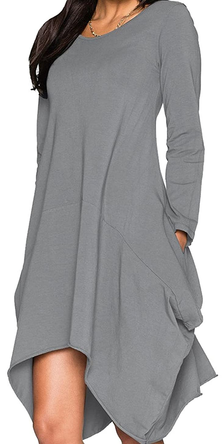 WearLove Women Asymmetrical Loose Long Sleeve Pockets Tunic Shirt Dress