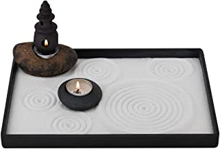 ICNBUYS Handmade Zen Garden Pebble Tealight Candle Holder Set Censer with Free Zen Garden Tools, Sand, Base Tray and Acces...