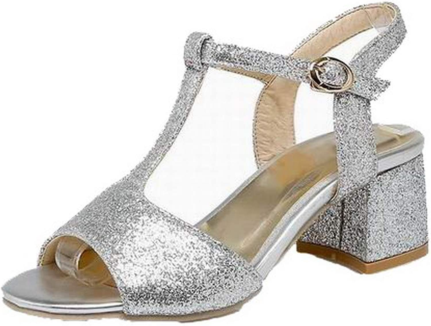 WeenFashion Women's Solid Blend Materials Kitten-Heels Open-Toe Buckle Sandals, AMGLX010402