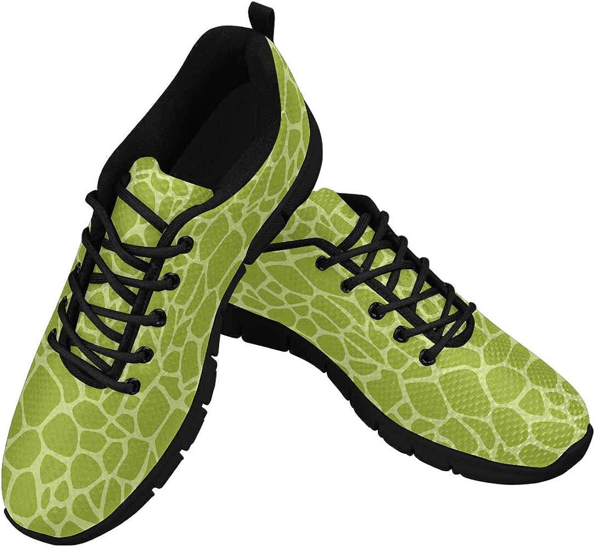 InterestPrint Green Dinosaurs Pattern Women's Lightweight Sneakers Mesh Breathable Yoga Shoes