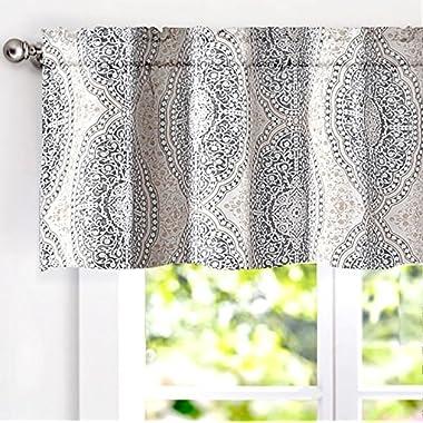 DriftAway Adrianne Damask/Floral Pattern Window Curtain valance (52 x18 , Beige/Gray)
