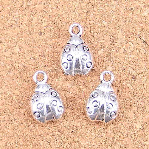WANM Colgante 12Pcs Ladybug Bug Charms 14X9X5Mm Colgantes Antiguos De La Vendimia DIY Joyería De Plata Tibetana para Collar De Pulsera