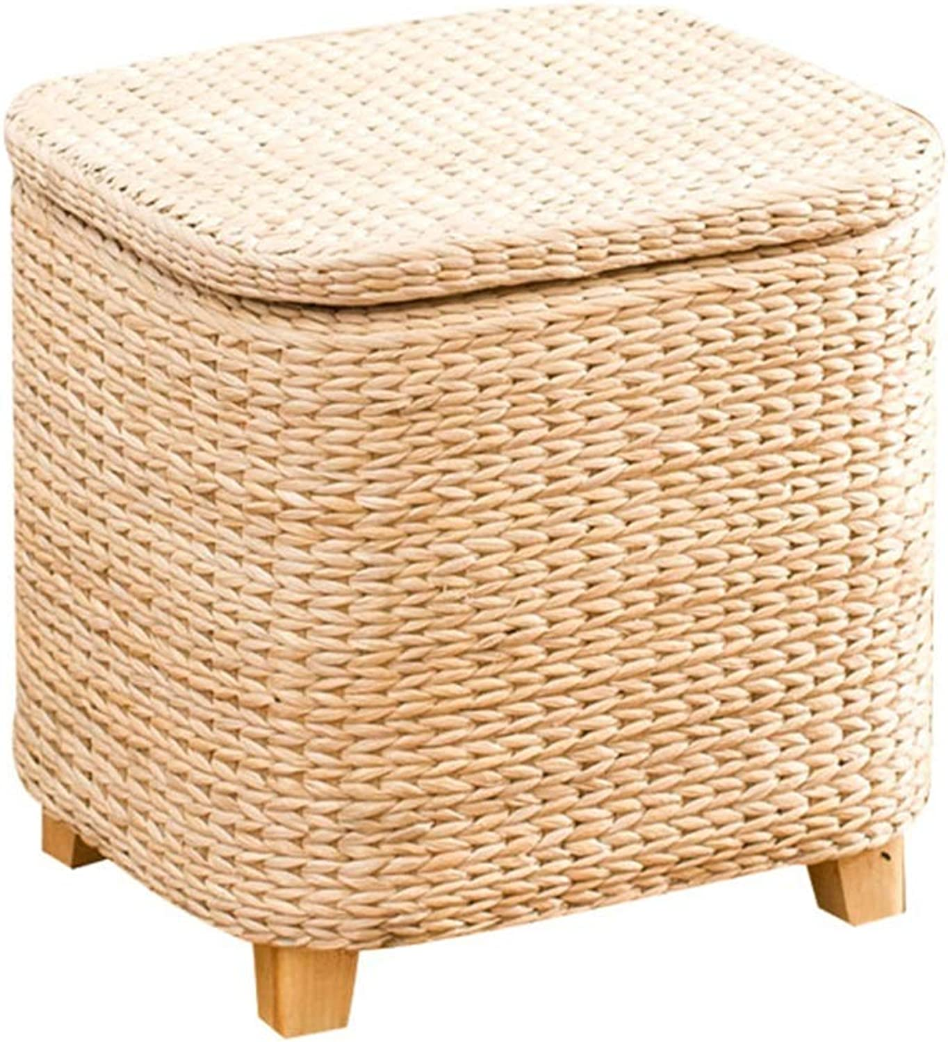 ZH STOOLS Sofa Stool, Solid Wood Rural Rattan Grass Art Storage Bench for Makeup Footrest Change shoes (color   A, Size   36  30  36cm)