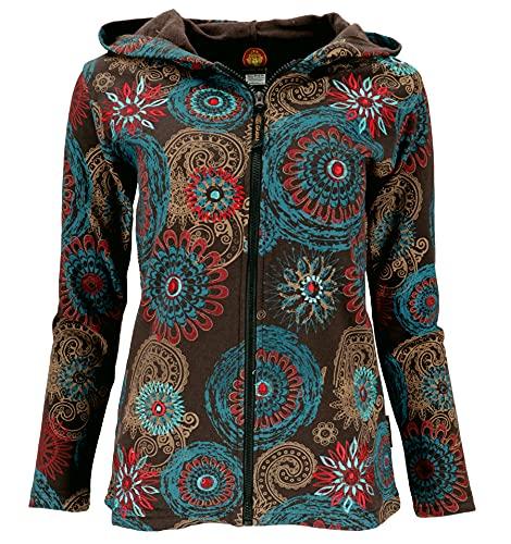 GURU SHOP Hippie Chic Jacke, Bestickte Jacke, Schokobraun/petrol, Baumwolle, Size:M (38), Boho Jacken, Westen Alternative Bekleidung