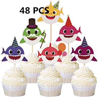 48pcs Baby Shark Cupcake Cute Shark Cake Toppers For Kids Birthday Party Decorations Cupcake Supplies