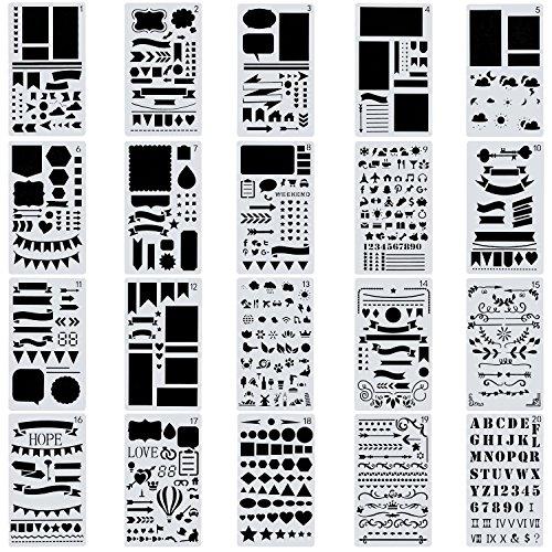 yueton 20PCS 4x7 Inch Bullet Journal Stencils Painting Stencils DIY Craft Stencils Plastic Planner Set for Journal,Notebook,Diary, Scrapbook