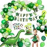 Decoración de fiesta de la selva, MMTX Juego de decoración de cumpleaños de dinosaurio, Globos de dinosaurios de estilo jurásico mundial con pancarta de feliz cumpleaños para niños Niños Niños