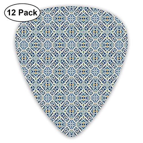 Gitarren-Picks Portugiesische Azulejo-Fliesen Blumen Europäischer mittelalterlicher Stil Mosaik Marokkanischer Retro-Effekt, Für Bass Elektrische Akustikgitarren-12er Pack