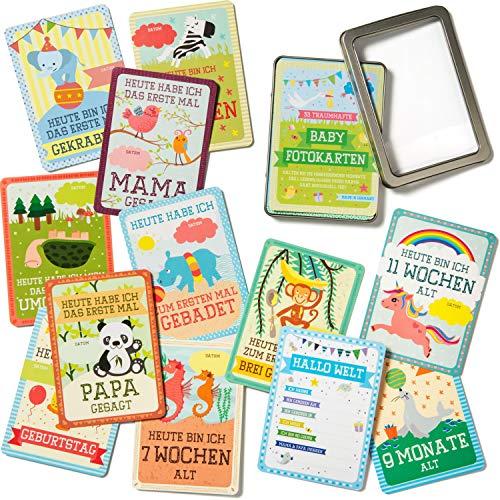 JANEYO - 33 Baby Meilenstein Karten fürs erste Lebensjahr - Ideal als Geschenk zur Geburt oder Schwangerschaft - Meilensteinkarten Baby Cards für Jungen & Mädchen - Deutsch (kleines Set)