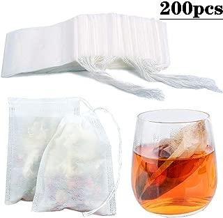 200pcs Tea Filter Bags Loose Leaf Tea Infuser Safety & Natural Material, 100% Unbleached Paper/Environmental Food Grade Drawstring Tea- Bags, 1- Cup Capacity- 3.15
