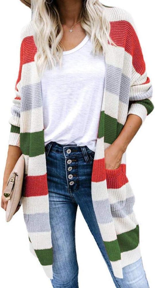 Max 68% OFF Lztly Sweater Striped Award Cardigan Stitching Women's