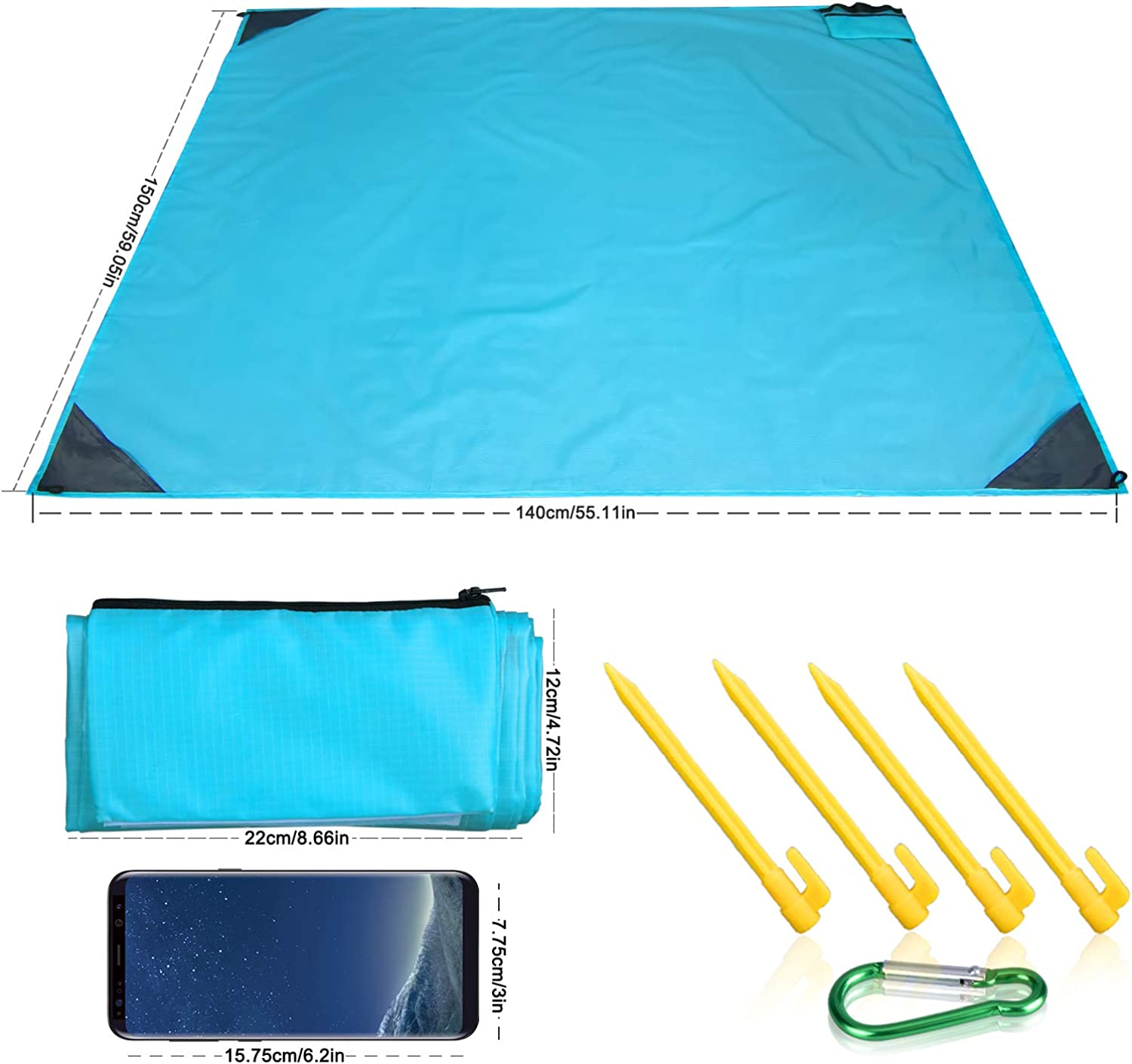 WeTong Outdoor Travel Blanket Travel Waterproof Blanket Portable Blanket(55 X 59 ), Waterproof Collapsible Beach Mat Outdoor Picnic Travel Blanket Suitable forCamping, Travel, Outdoor Gathering