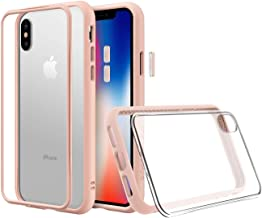 RhinoShield Modular Case for iPhone Xs [Mod NX] | Customizable Shock Absorbent Heavy Duty Protective Cover - Compatible w/Wireless Charging & Lenses - Shockproof Blush Pink Bumper w/Clear Back
