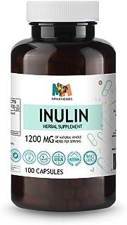 Inulin 100 Vegan Capsules, 1200MG, Organic Chicory Root Inulin Powder