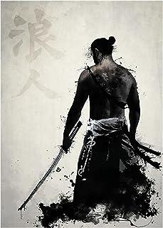 Japanse samoerai canvas schilderij, moderne kunst aan de muur, karakter posters, canvas decor voor woonkamer, slaapkamer 5...