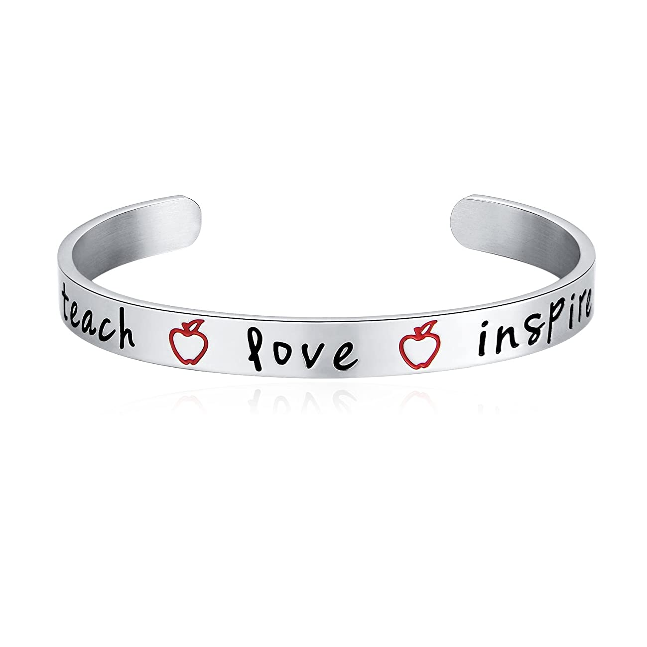 Teacher Appreciation Gift - Stainless Steel Teach Love Inspire Cuff Bangle Bracelet for Women, Jewelry for Teachers, Birthday Gifts for Teachers, Thank You for Helping Me Grow Gift