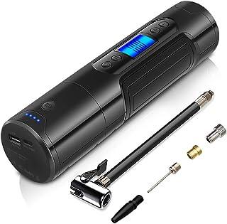 NWOUIIAY Mini Compresor de Aire Portátil 150 PSI 25L/MIN Cable USB Recargable con LED y Pantalla LCD Digital para Balones Neumáticos de Moto Bicicleta