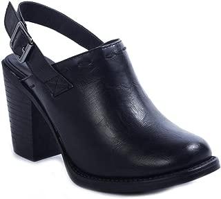 Ravenna-3 Women's Vegan Leather Adjustable Slingback Chunky Stacked Heel Clog Mule