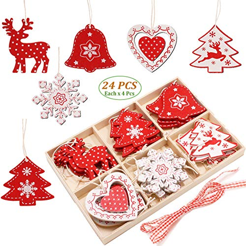 Weihnachtsschmuck Set aus Holz, Weihnachtsbaum Ornament Set, 24 Stück, 5,1 cm, Holz, zum Aufhängen, Dekoration für Weihnachtsbaum, Basteln, mit Holz Aufbewahrungsbox