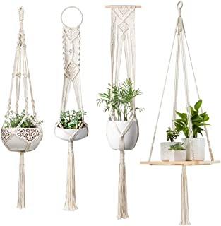 Mkono Macrame Plant Hangers Hanging Plant Shelf Indoor Wall Planter Decorative Flower Pot Holder Boho Home Decor, Set of 4