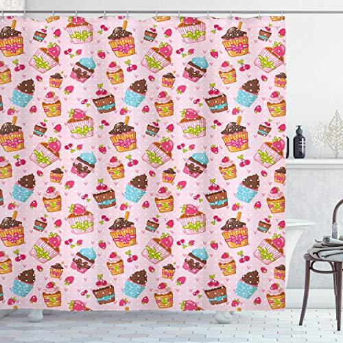 ABAKUHAUS Rosa Duschvorhang, Küche Cupcakes Muffins, Trendiger Druck Stoff mit 12 Ringen Farbfest Bakterie & Wasser Abweichent, 175 x 200 cm, Hellrosa & braun