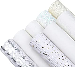 8 Pieces 8x12 Inch White Series Faux Leather Sheets Including 6 Kinds Leather Sheets for Leather Bows and Earrings Making